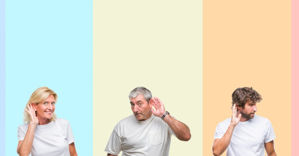 people with hand on ear - deafness concept